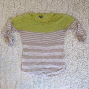 Express Green and Tan Striped Short Sleeve Sweater